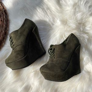 Olive Green Wedge Booties